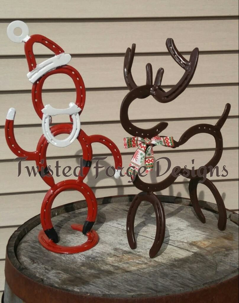 A Horse Shoe Santa And Reindeer Horseshoes Santa