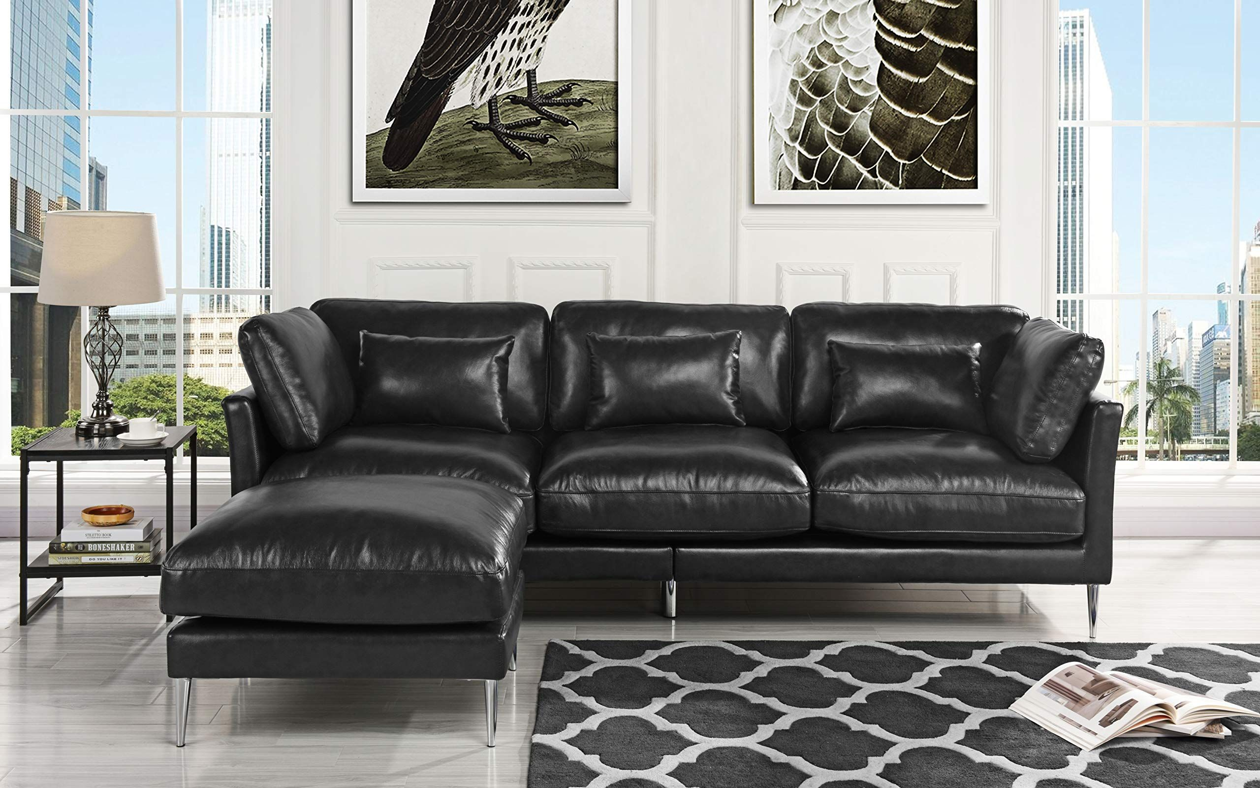 Modern Leather Sectional Sofa L Shape Couch Black Inspect This Remarkable It In 2020 Modern Leather Sectional Sofas Brown Sofa Living Room Classic Sofa Living Room