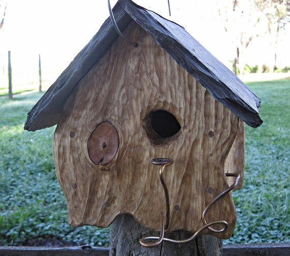 Birdhouse Rustic Slate Roof Sculpted O O A K Bird House Bird Home Birdhome Bird Habitat Bird Houses Birdhouses Rustic Bird House