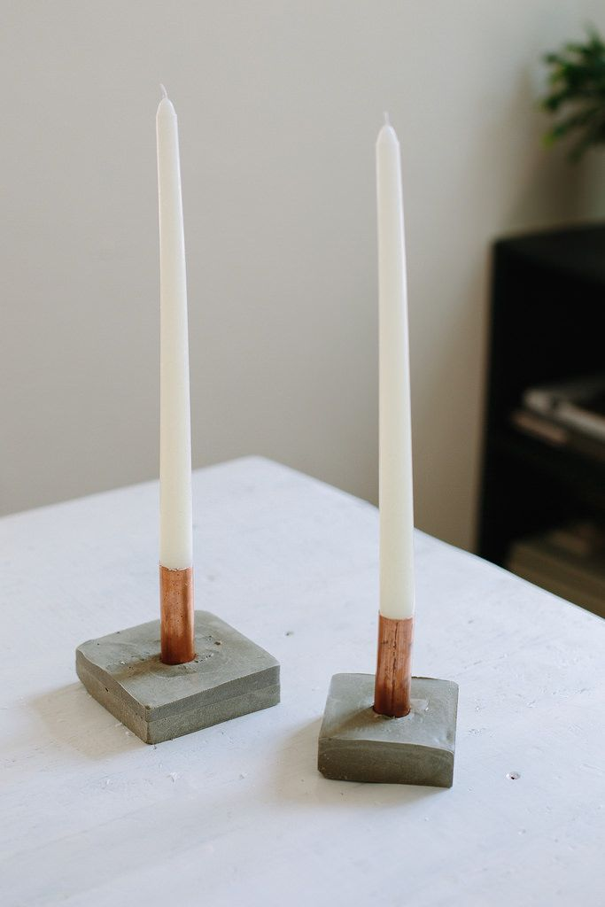 DIY Copper And Cement Candle Holders