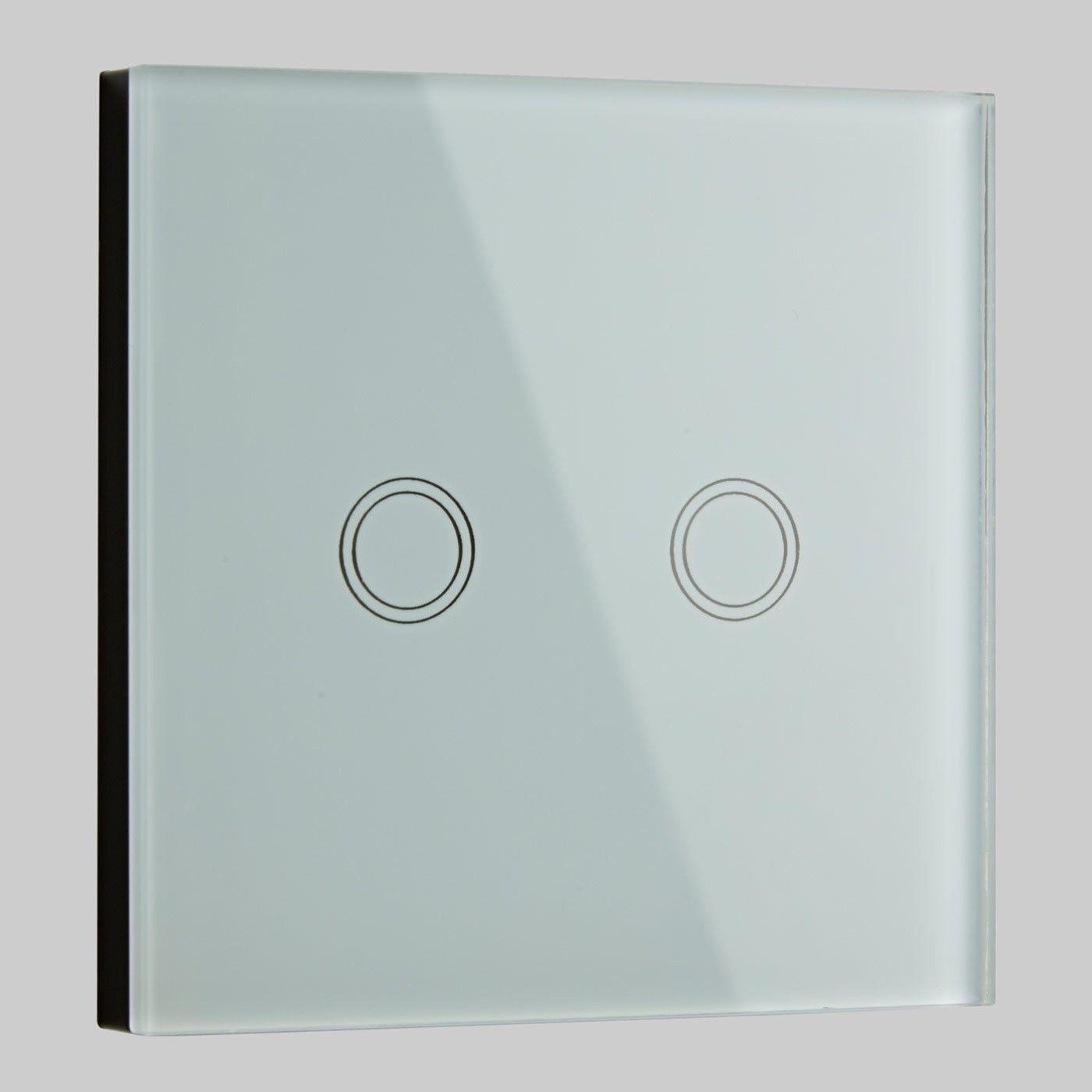 Biard 2 Gang White Glass Designer Touch Light Switch | Touch light ... for modern dimmer light switches  155fiz
