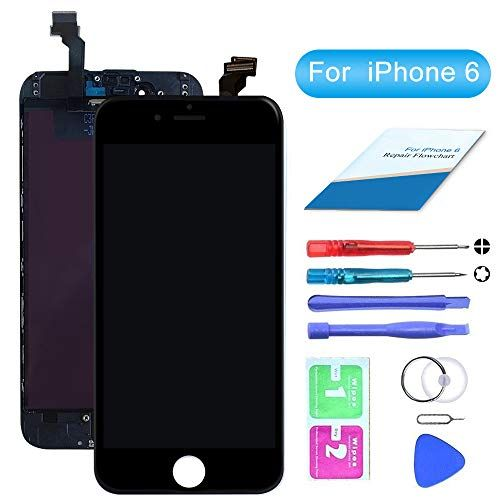 4.7 Inch Compatible for iPhone 6 Digitizer LCD Touch Screen Display Assembly with Complete Repair Tools Kit Including Screen Protector HTECHY Compatible with iPhone 6 Screen Replacement White