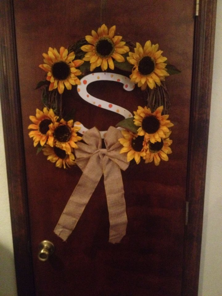 Personalized sunflower wreath!!!! Pinterest idea that didnt go wrong :)
