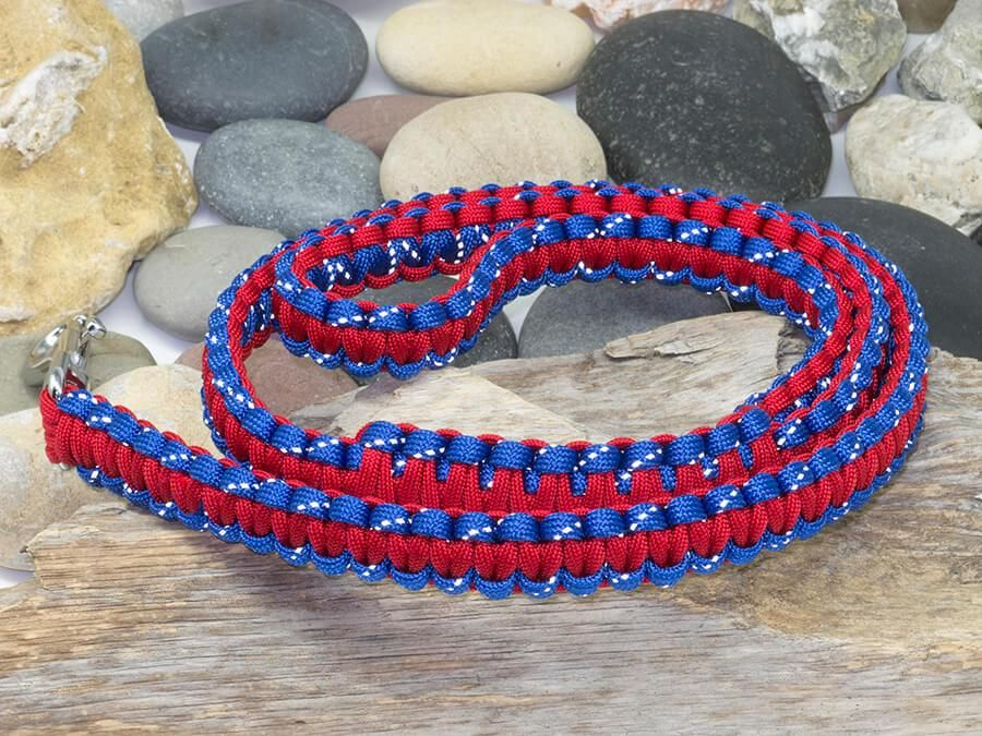 Reflective Blue and Red Paracord Dog Lead Dog leads
