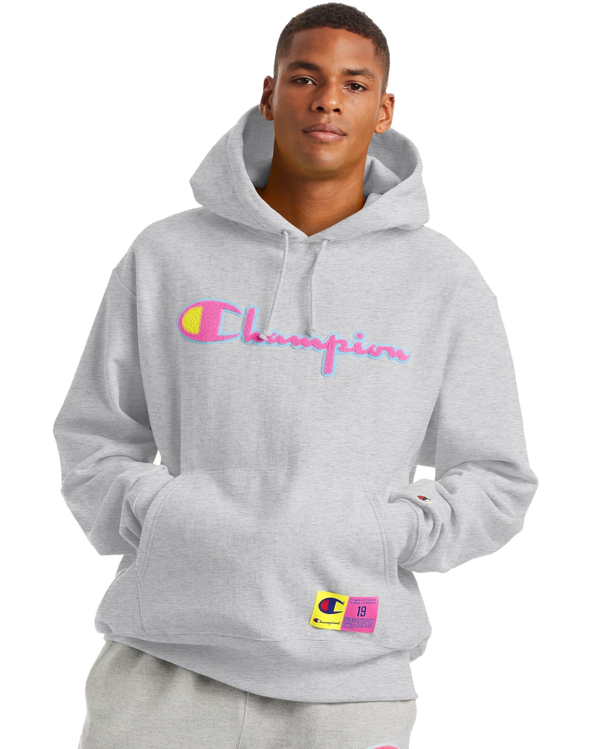 Men S Champion Life Reverse Weave Hoodie Chenille Logo Oxford Grey Hoodies Champion Hoodie Mens Hoodie Outfit Men [ 2410 x 1900 Pixel ]