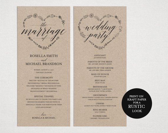 rustic wedding program template wedding ceremony program printable