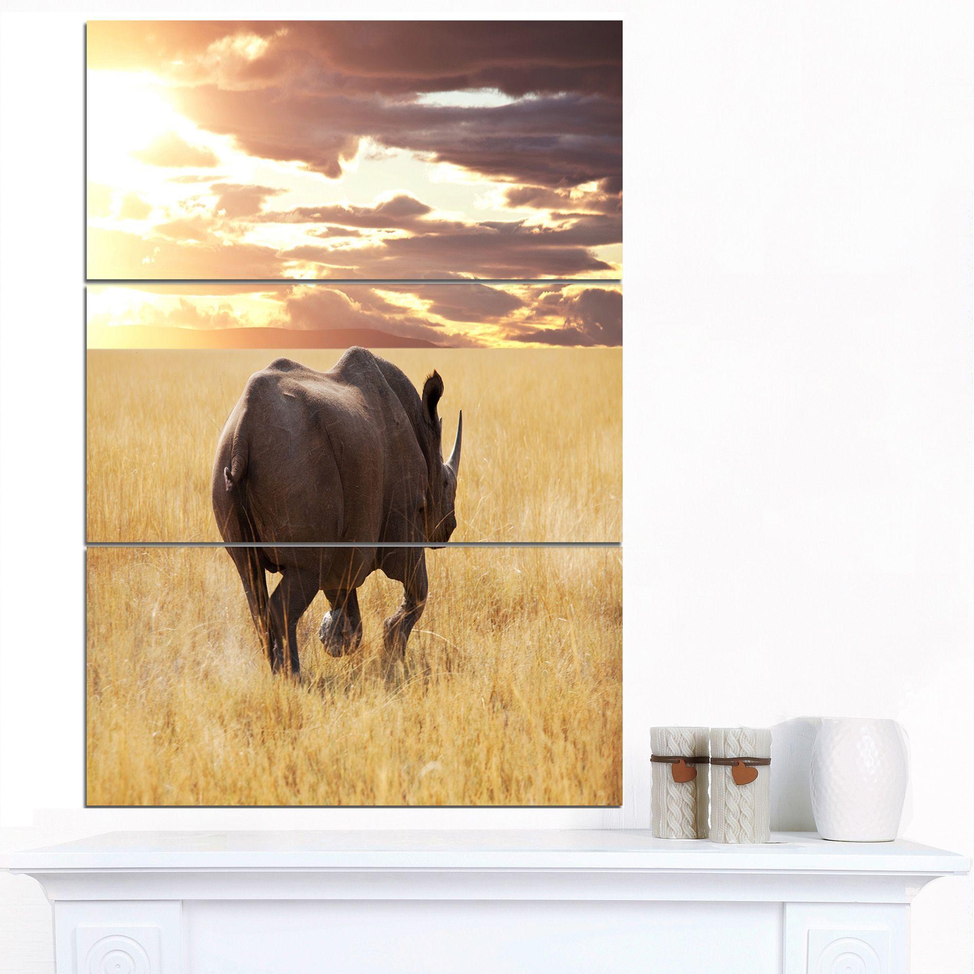 Designart \'Giant Rhino under Bright Sky\' African Wall Art Print by ...
