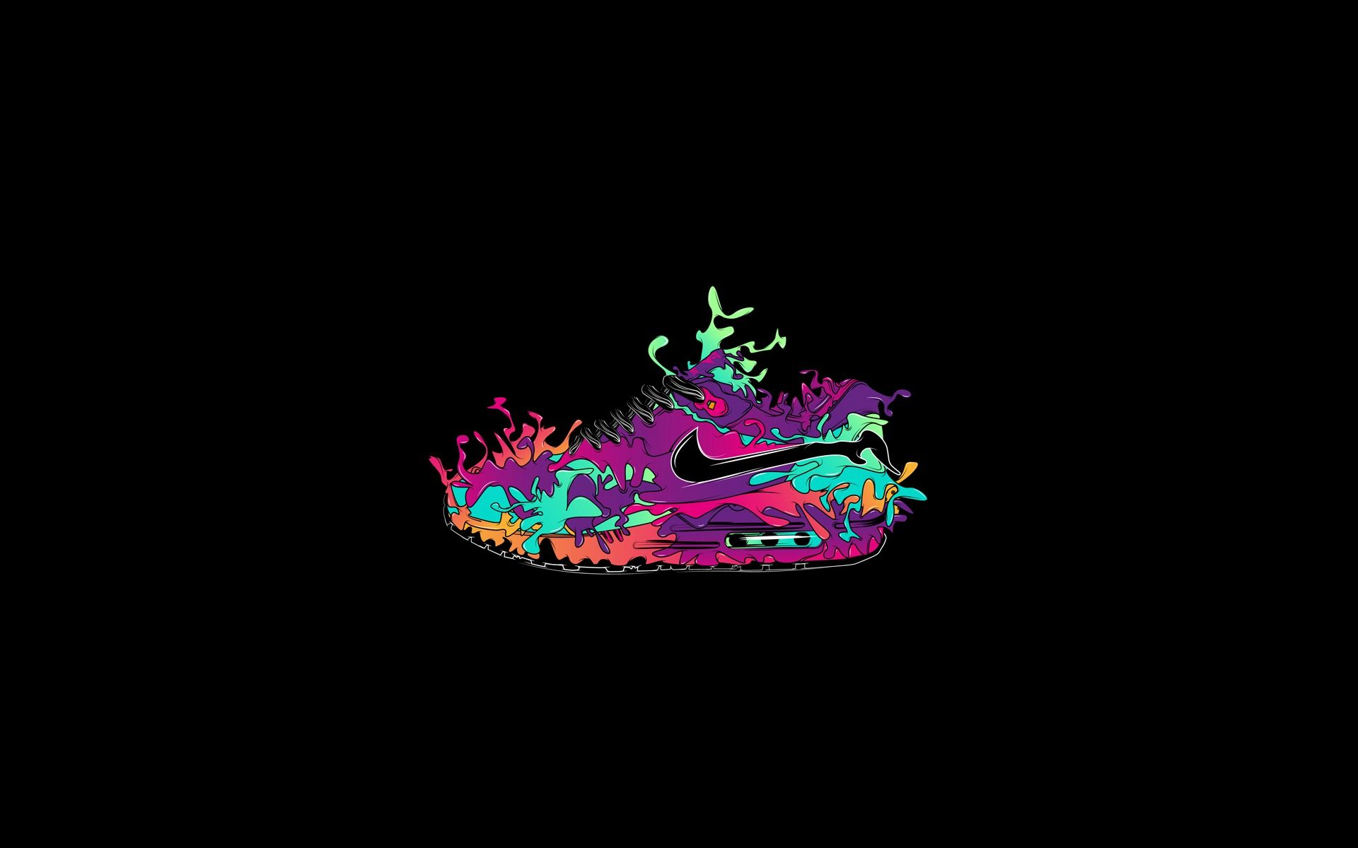 Art Colored Nike Shoes Wallpaper Free