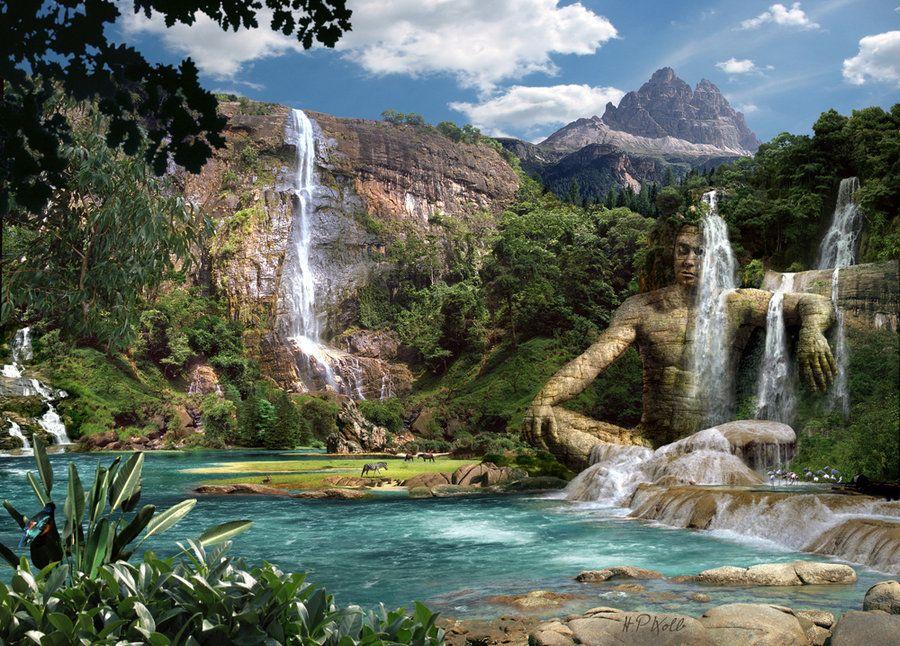 Waterfalls Mountain By Hanspeterkolb On Deviantart Waterfall Pictures Mountain Waterfall Waterfall