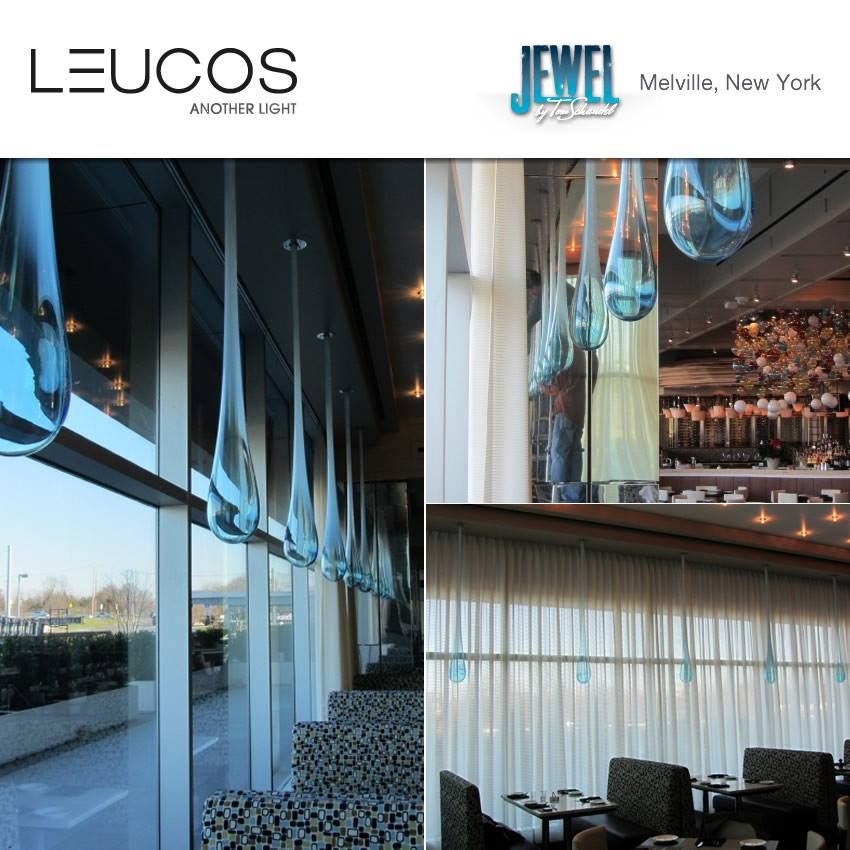 The Jewel restaurant in Melville NY, amplifies its 50s echoes by choosing a string #Leucos #Glò suspensions, blue and ethereal: many drops facing Long Island