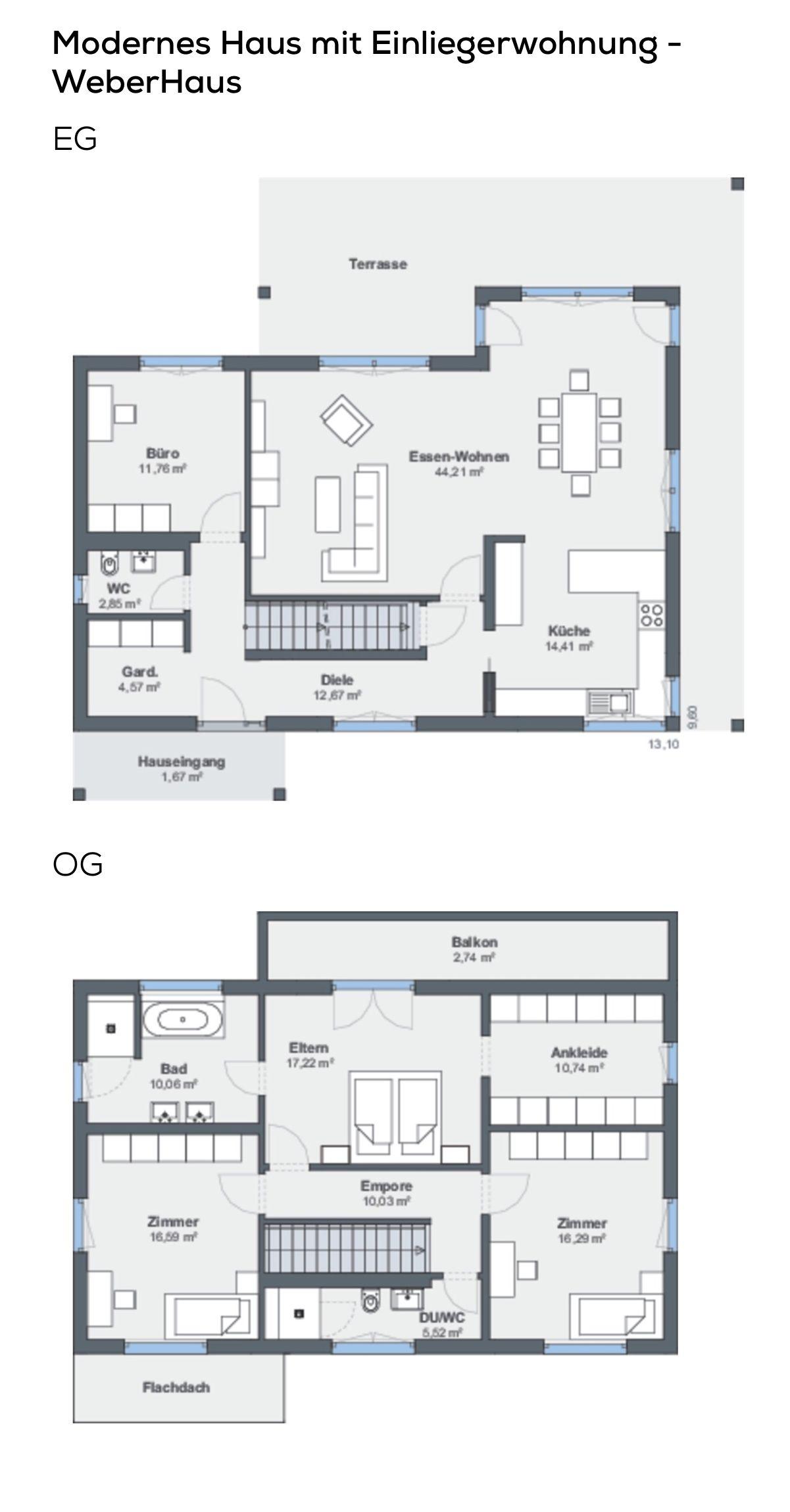 Grundriss Einfamilienhaus mit Garage & Einliegerwohnung in