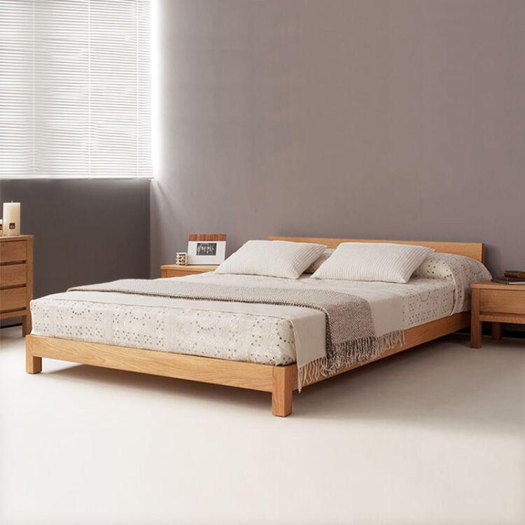 颐莱 实木床 北欧日式简约现代床架榻榻米床简易双人床单人床1.2米1.5米1.8矮床 有床头款+5公分全棕床垫【免费