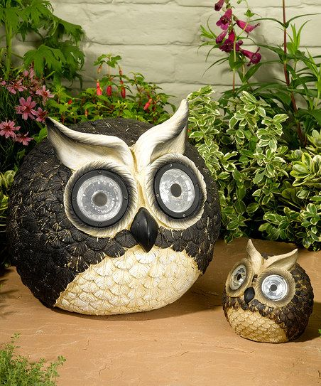 Solar Owl Garden Decor Set Add A Dazzling Touch To Outdoor Décor With This  Pair Of