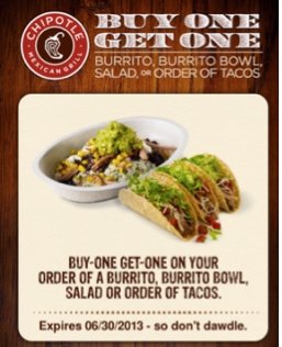 photograph relating to Chipotle Coupons Printable identified as Warm Fresh BOGO Chipotle Coupon - Words Offer you! Discounts4Me