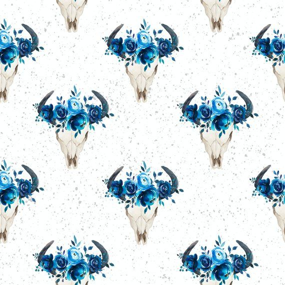 26465ff677a skull fabric cotton fabric knit floral fabric boho fabric watercolor fabric  jersey fabric organic western fabric longhorn feather fabric