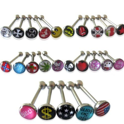 25pcs Fashion Premium Metal Tongue Rings Steel Bars Barbells Funny Nasty Wording Unique Style Logo 14G - http://weirdthingstobuy.net/25pcs-fashion-premium-metal-tongue-rings-steel-bars-barbells-funny-nasty-wording-unique-style-logo-14g