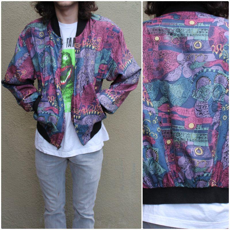 SILK jacket Paisley print 90s vintage