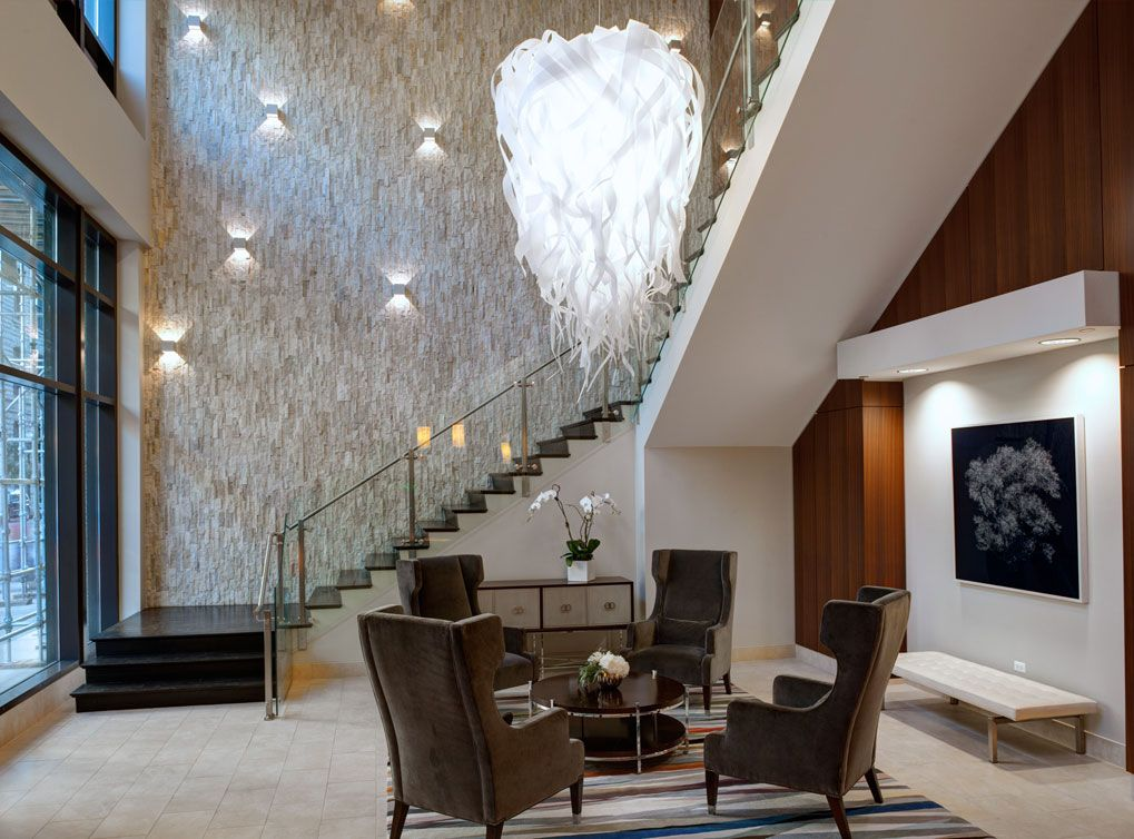 Exclusive resident lounge at AMLI River North, a luxury