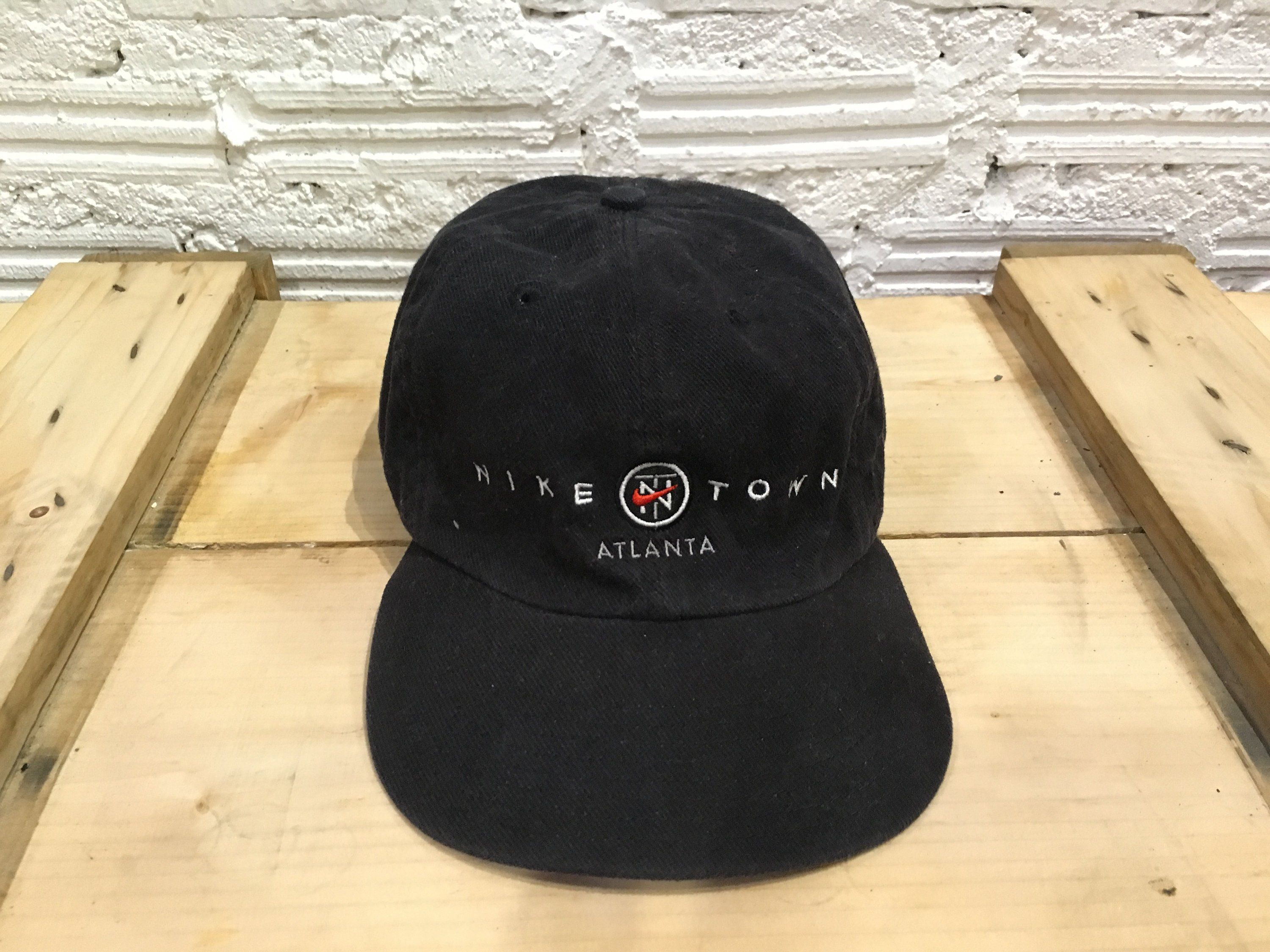ce44490bc25 Vintage Nike cap Nike TN logo Nike town Atlanta spell out embroidered  adjustable cap strapback Black Good condition by AlivevintageShop on Etsy