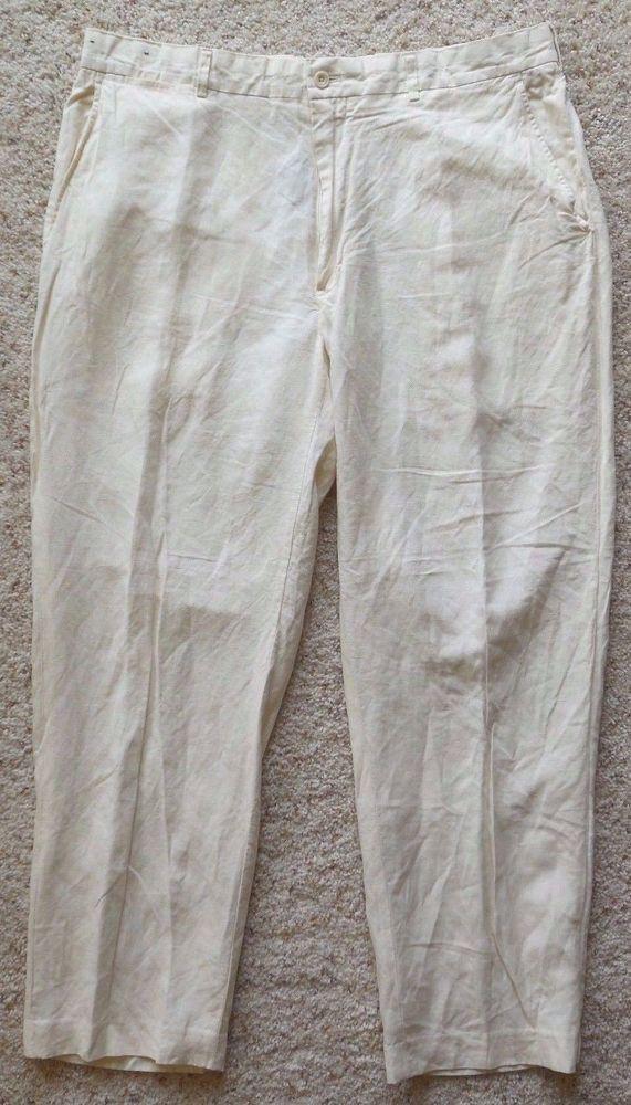 POLO Ralph LAUREN Pants 36 29 Beige CREAM Silk LINEN Blend FLAT Front MENS Size* #PoloRalphLauren #DressFlatFront