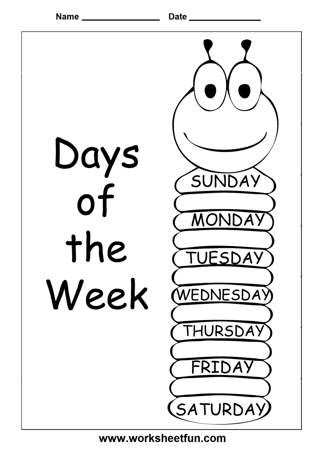 insects worksheets free – Days of the Week Kindergarten Worksheets