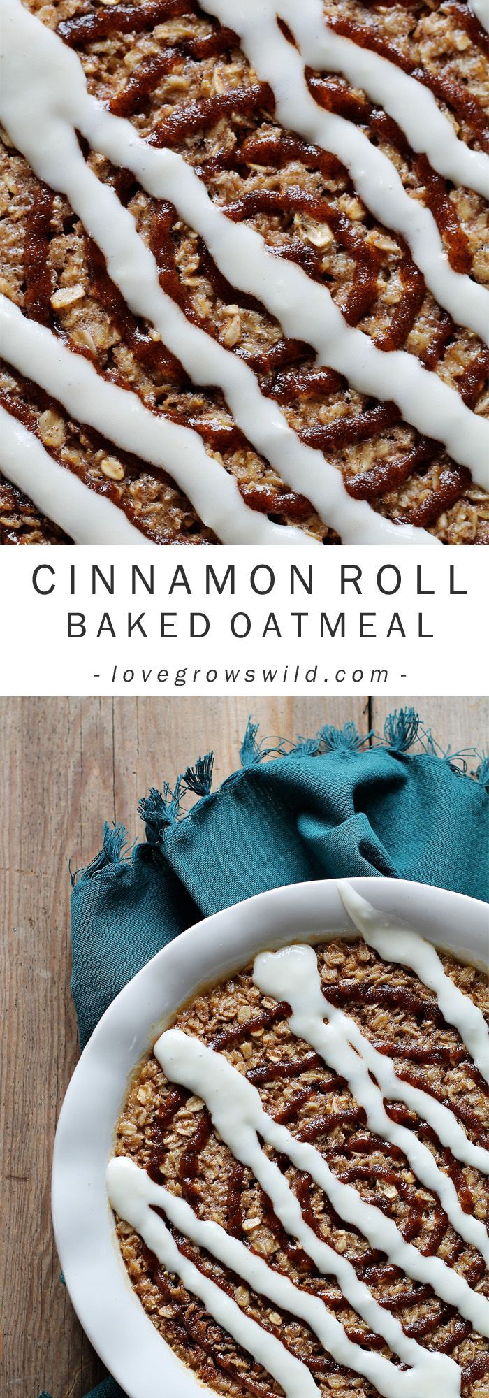 Roll Baked Oatmeal Delicious, easy baked oatmeal with a sweet cinnamon drizzle and cream cheese icing! Cinnamon roll perfection! Get the recipe at Delicious, easy baked oatmeal with a sweet cinnamon drizzle and cream cheese icing! Cinnamon roll perfection! Get the recipe at