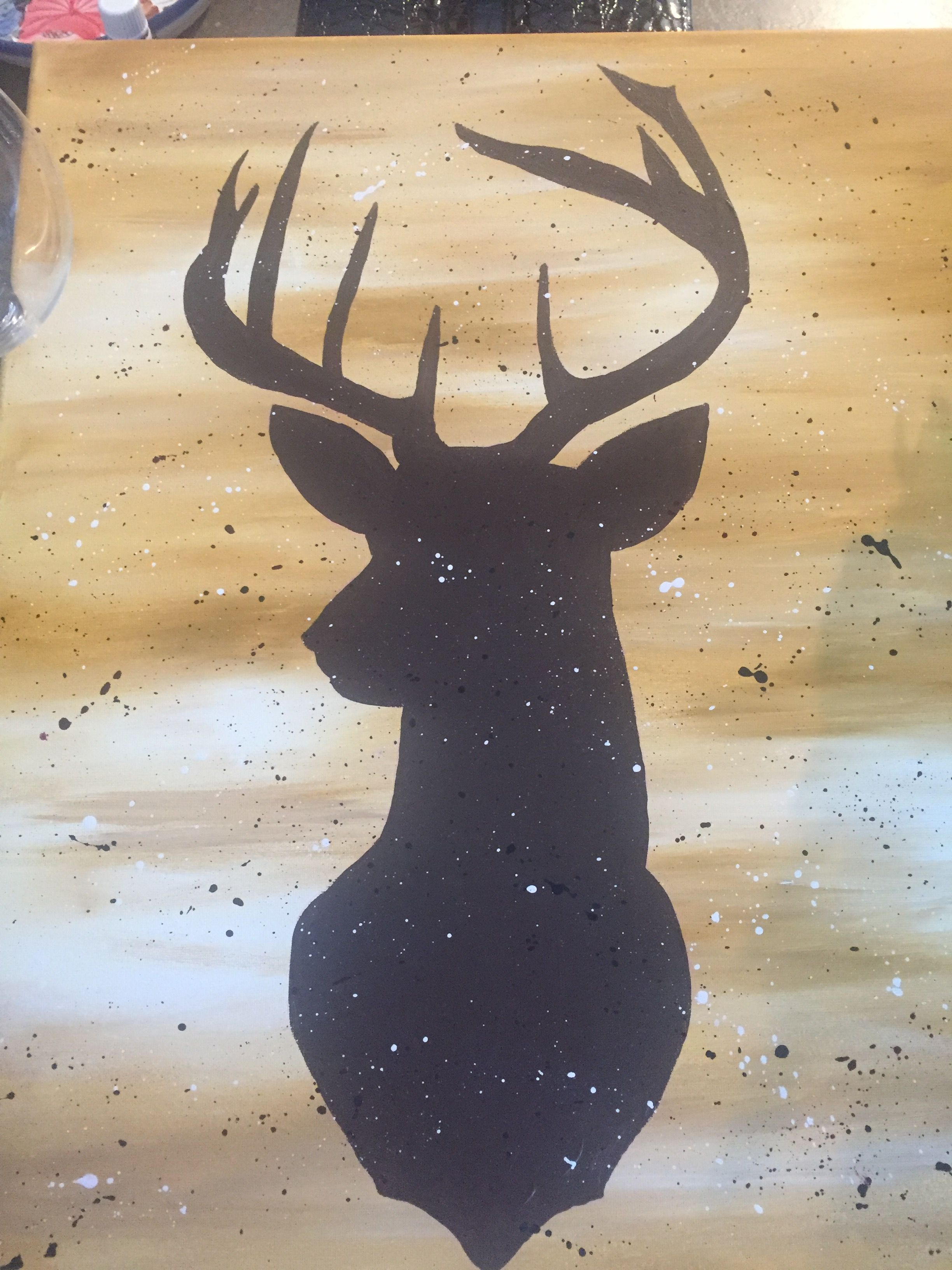 Deer Silhouette On Gold Back Ground With Splatter I Did It Deer Painting Deer Silhouette Painting Western Painting Canvas