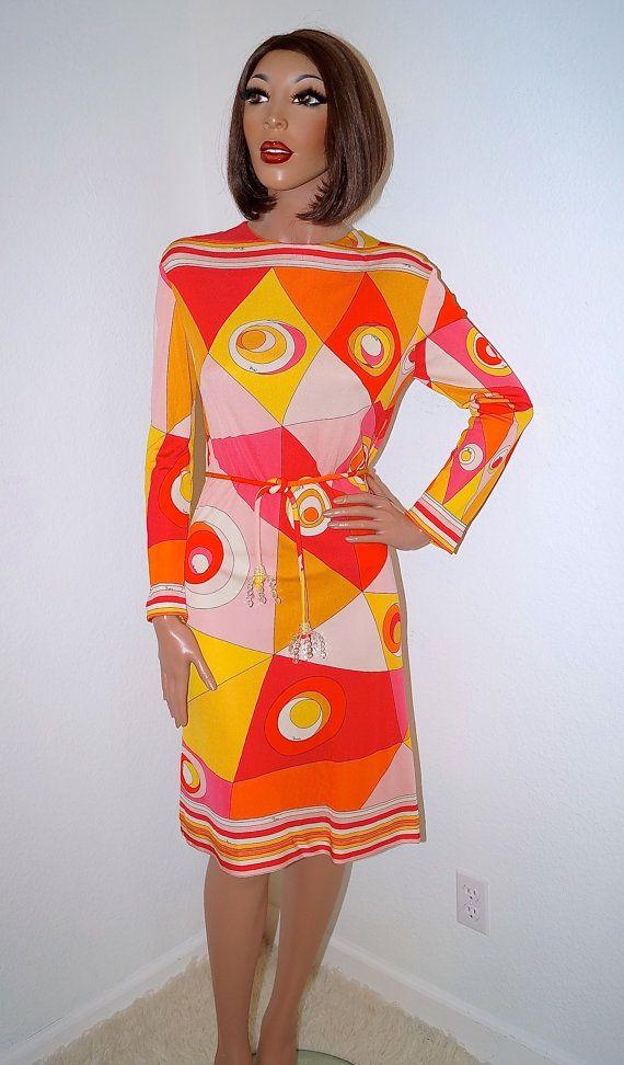 d847c58c91 1960s Emilio Pucci Dress   Authentic Emilio Pucci Silk Op Art Dress ...
