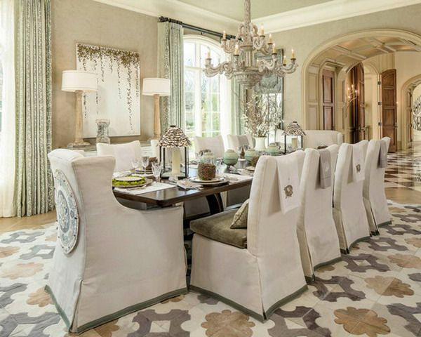 Beautiful Traditional Dining Room with White Chair Slipcovers