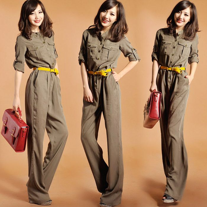c8029b0b751 Free shipping! tooling Army Green pocket buckle stand collar long-sleeve  jumpsuit trousers