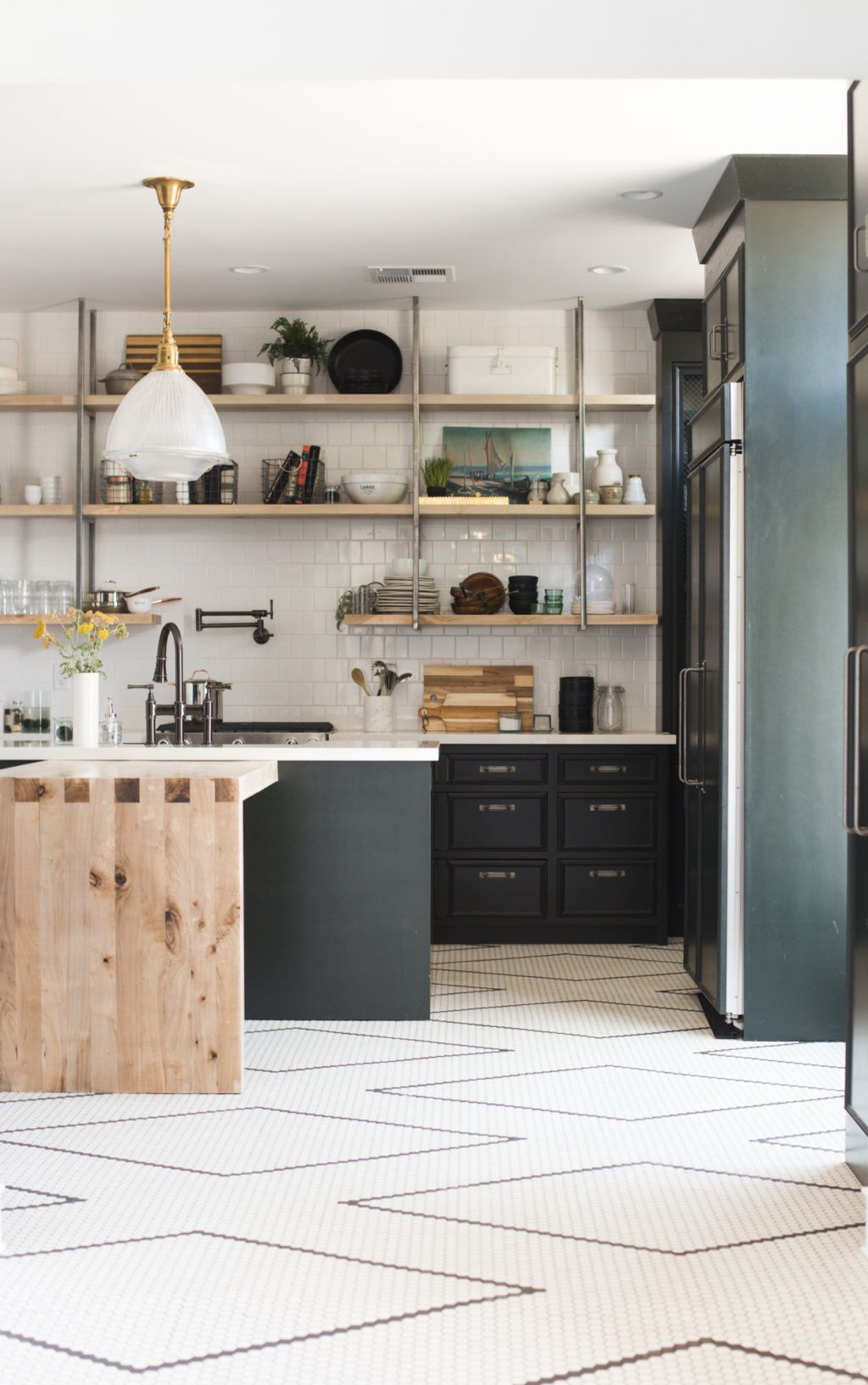 Dark Green Kitchen Cabinets And Hand Laid Black And White Tile Flooring It S A Diy With A Tutori Green Kitchen Cabinets Kitchen Floor Tile White Kitchen Floor