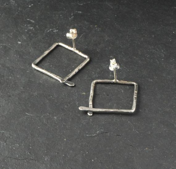 Square Hoop Earrings Hammered Silver Hoop Earrings Simple Stud Earrings Unusual Earrings Sterling Silver Earrings Geometric Textured Square Hoop Earrings Hammered Silver...