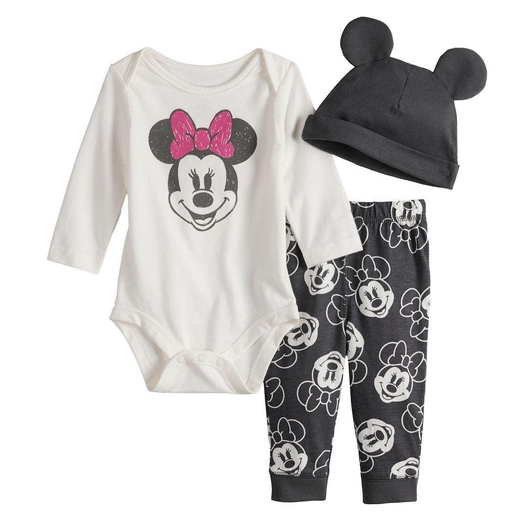 Disney Baby Girls Minnie Mouse Footies and Hat Set