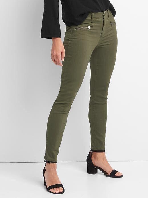 f19dd3872bb2cd Gap Womens Mid Rise Zip Pocket True Skinny Jeans Army Green ...
