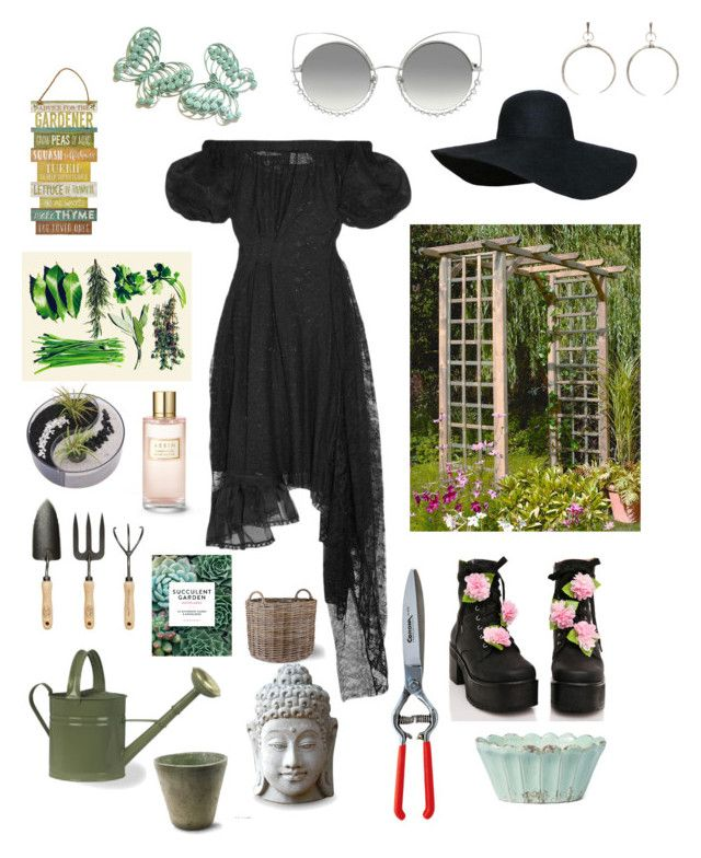 """Green Witch ✨🍃"" by witchousenova ❤ liked on Polyvore featuring Preen, Sugar Thrillz, NOVICA, Estée Lauder, Chronicle Books, HomArt, Garden Trading, Marc Jacobs and Luv Aj"