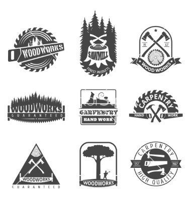 carpentry-sawmill-and-woodwork-vintage-logos-vector
