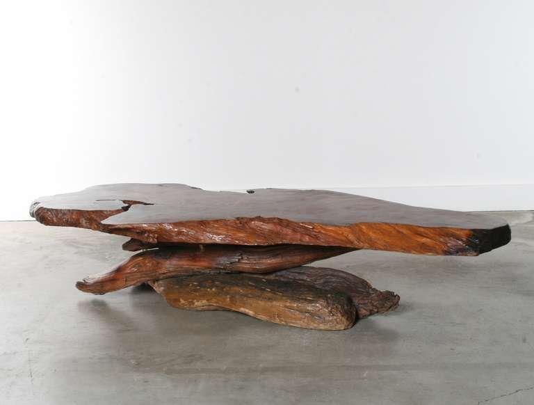 California Redwood Slab Coffee Table