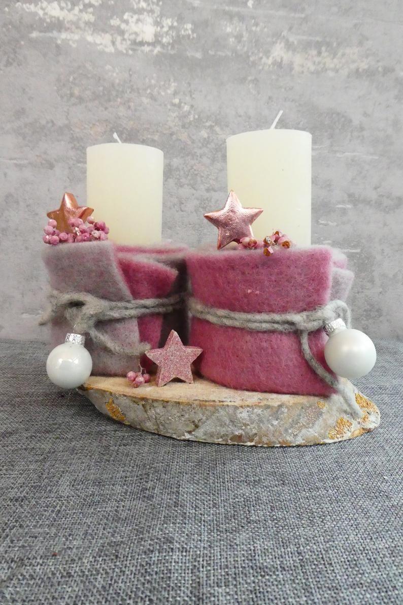 Tischdeko mit Kerzen auf Baumscheibe #adventskranzaufbaumscheibe