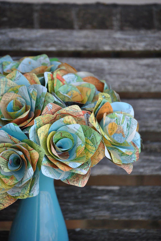 One Dozen Vintage MAP Paper Roses Handmade Bouquet Other Colors