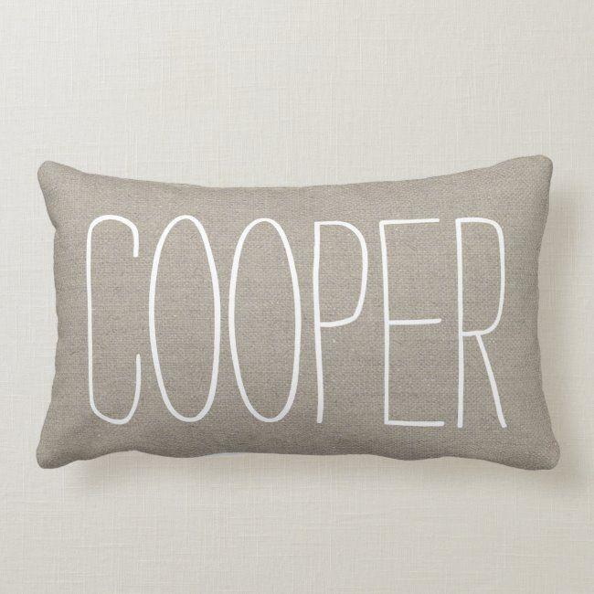 Rustic Chic Name Monogram Lumbar Pillow #cute #burlap #monogram #monogrammed #trendy #LumbarPillow