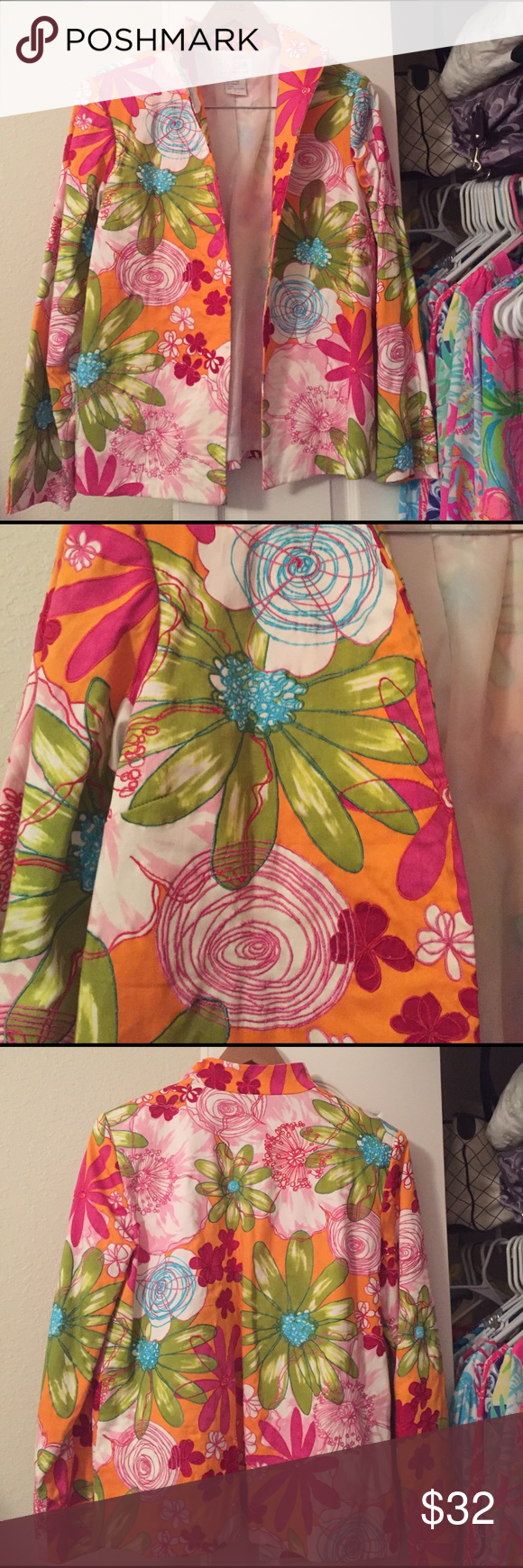 Gorgeous Floral Jacket Excellent Condition Size L Silk Club Collection jacket. Beautiful bright colors perfect for Spring and Summer. Very pretty. ❤ Silk Club Collection Jackets & Coats Blazers