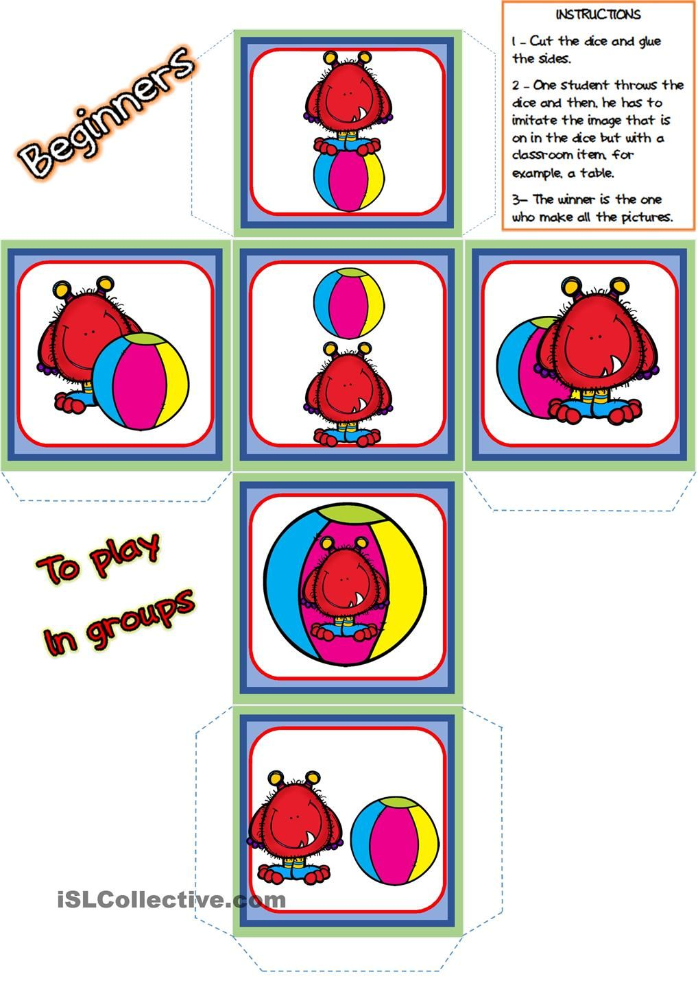 Prepositions Of Place Picture Dice Prepositions Summer Preschool Activities Preschool Activities
