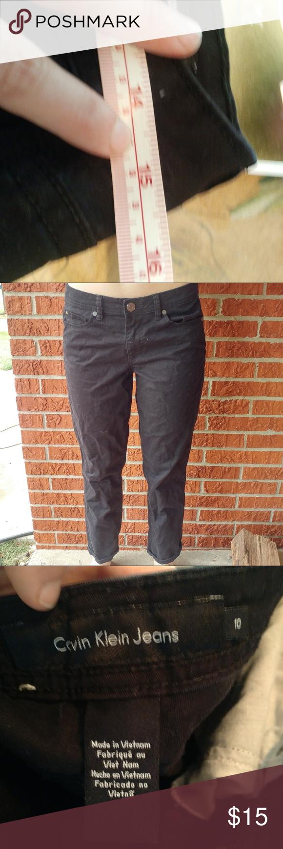 Calvin Klein black crop jeans size ten