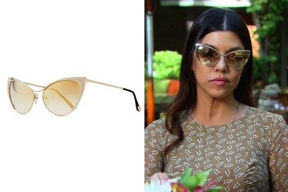 560b7fc14a Kourtney Kardashian s Gold Mirrored Cat Eye Sunglasses on  Keeping Up with  the Kardashians  - TV Fashion Roundup  July 14