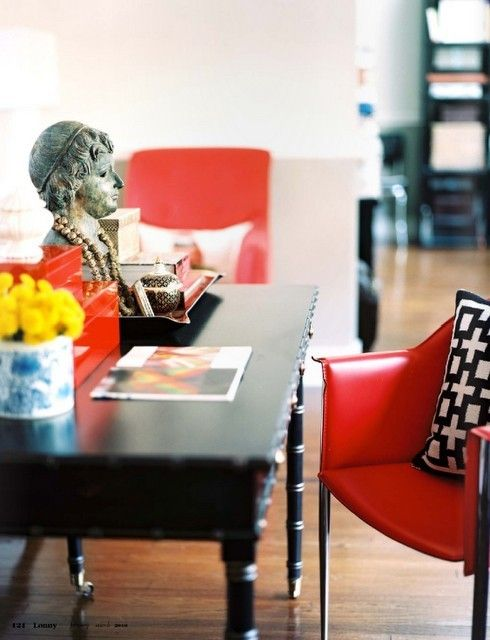 pretty vignette- eclectic colored office space