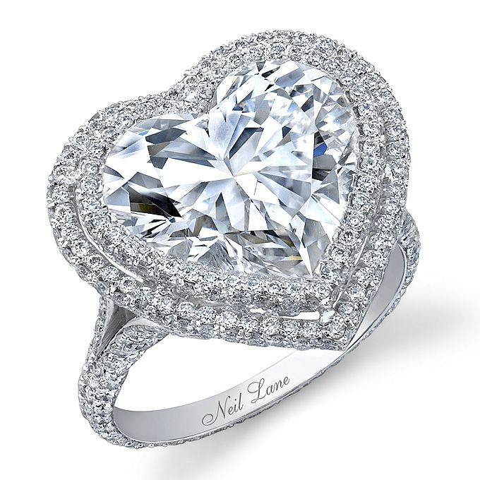 heart shaped engagement rings - Heart Wedding Ring Set