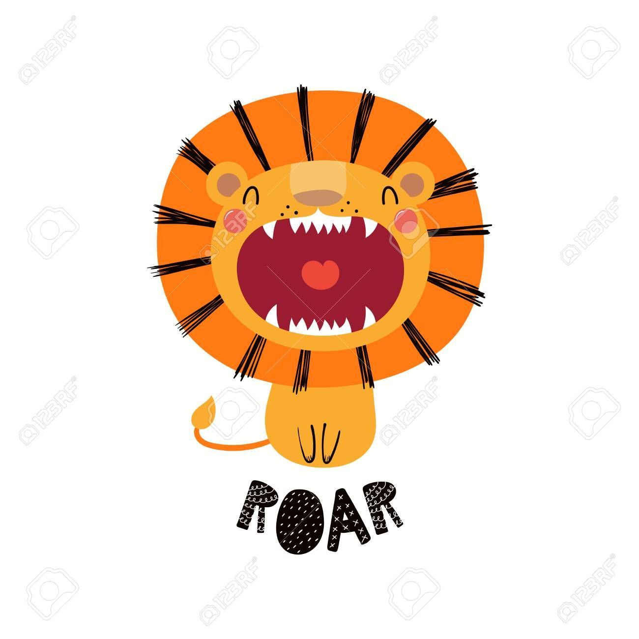 Hand Drawn Vector Illustration Of A Cute Funny Lion With