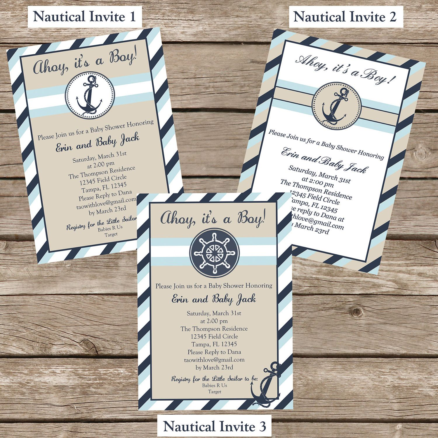 Nautical Baby Shower Invitation - Printable | Mom | Pinterest ...