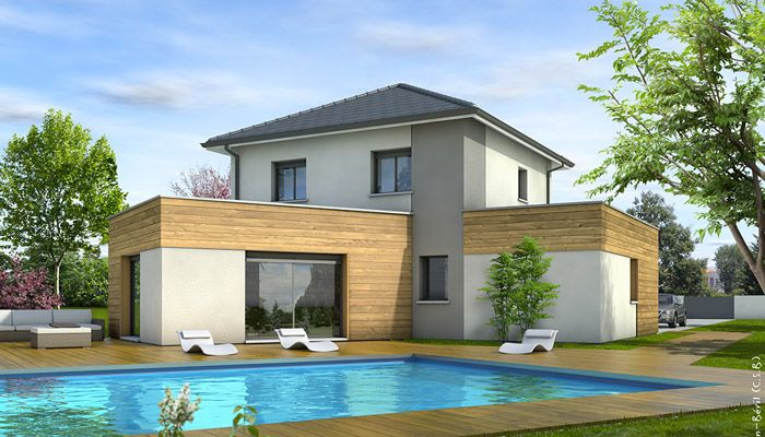 laissez vous sduire par cette maison moderne tage larchitecture originale mlant toit plat et toiture traditionnelle pinterest - Maison Moderne Contact