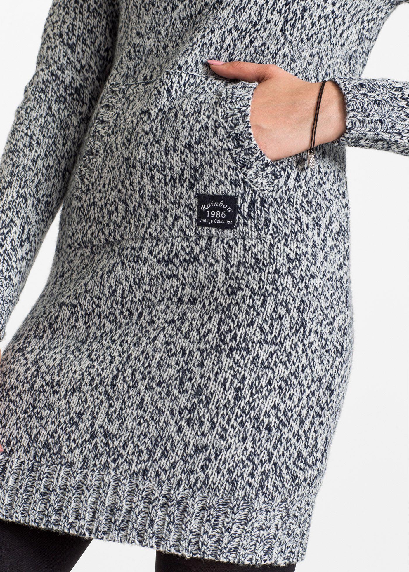 de803de59667 Pletené šaty s kapucí s podšívkou tmavě modro-přírodní bílý melír - koupit  online - bonprix.cz Ležérní vzhled se širokou kapucí